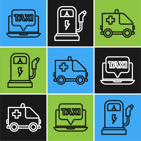 Set line Laptop call taxi service, Ambulance and emergency car and Electric car charging station icon. Vector Ilustracja