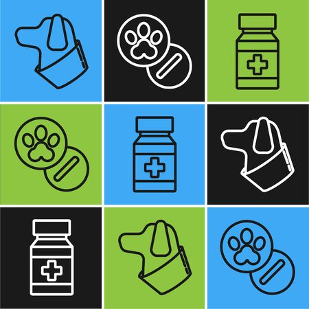 Set line Dog, Dog medicine bottle and pills and Dog and pills icon. Vector