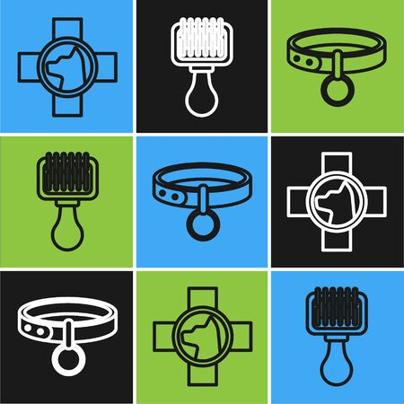 Set line Veterinary clinic symbol, Collar with name tag and Hair brush for dog and cat icon. Vector
