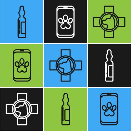 Set line Pets vial medical, Veterinary clinic symbol and Online veterinary clinic symbol icon. Vector