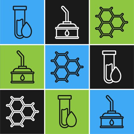 Set line Oil petrol test tube, Chemical formula consisting of benzene rings and Canister for motor machine oil icon. Vector  イラスト・ベクター素材