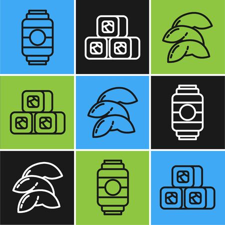 Set line Japanese paper lantern, Chinese fortune cookie and Sushi icon. Vector