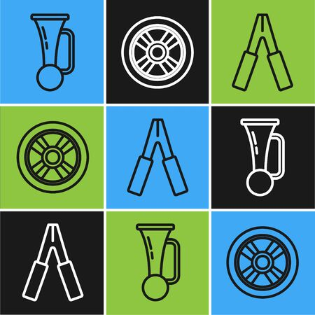 Set line Signal horn on vehicle, Car battery jumper power cable and Car wheel icon. Vector  イラスト・ベクター素材