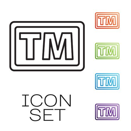 Black line Trademark icon isolated on white background. Abbreviation of TM. Set icons colorful. Vector Illustration