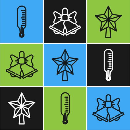 Set line Meteorology thermometer measuring, Christmas star and Merry Christmas ringing bell icon. Vector  イラスト・ベクター素材