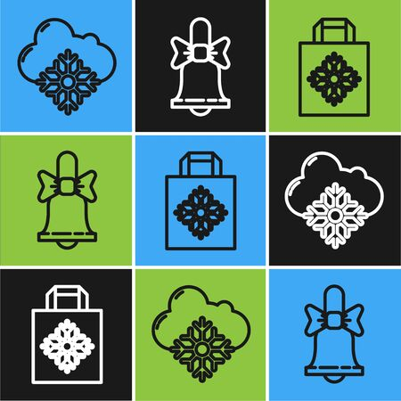 Set line Cloud with snow, Christmas paper shopping bag and Merry Christmas ringing bell icon. Vector