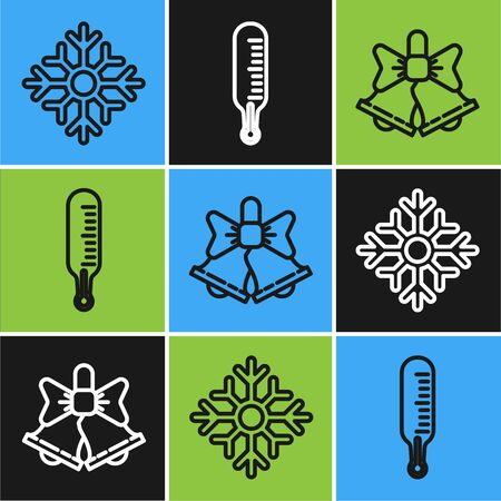 Set line Snowflake, Merry Christmas ringing bell and Meteorology thermometer measuring icon. Vector  イラスト・ベクター素材