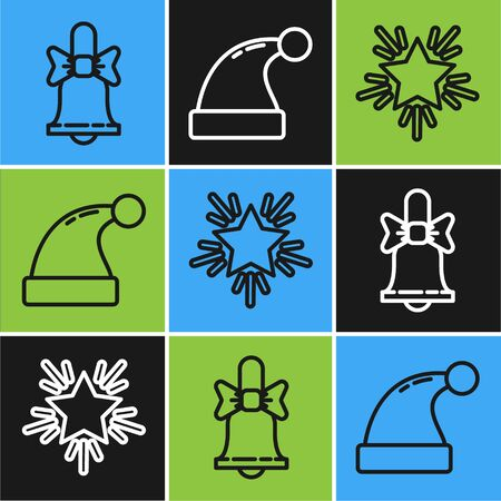 Set line Merry Christmas ringing bell, Christmas star and Christmas Santa Claus hat icon. Vector