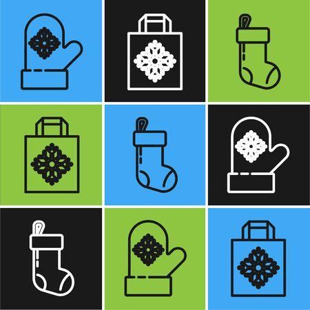 Set line Christmas mitten, Christmas stocking and Christmas paper shopping bag icon. Vector