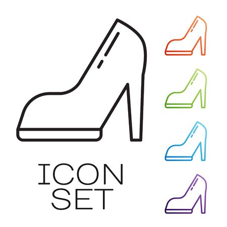 Black line Woman shoe with high heel icon isolated on white background. Set icons colorful. Vector Illustration
