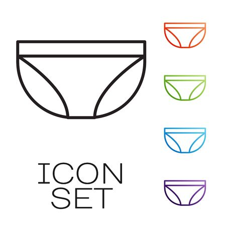 Black line Underwear icon isolated on white background. Set icons colorful. Vector Illustration