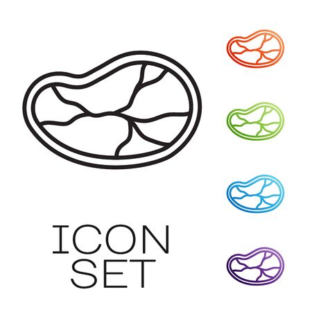 Black line Steak meat icon isolated on white background. Set icons colorful. Vector Illustration