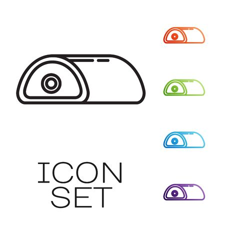 Black line Meat icon isolated on white background. Set icons colorful. Vector Illustration