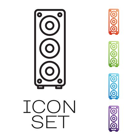 Black line Stereo speaker icon isolated on white background. Sound system speakers. Music icon. Musical column speaker bass equipment. Set icons colorful. Vector Illustration