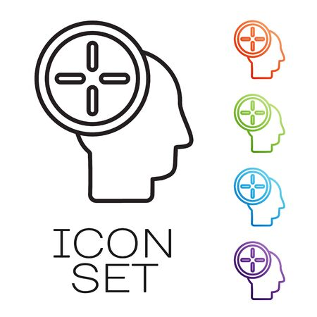 Black line Head hunting concept icon isolated on white background. Business target or Employment. Human resource and recruitment for business. Set icons colorful. Vector Illustration Illustration