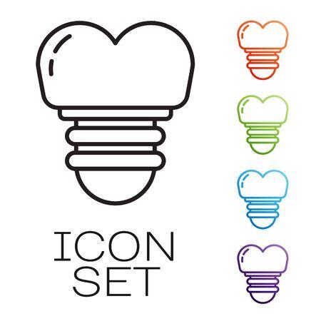 Black line Dental implant icon isolated on white background. Set icons colorful. Vector Illustration