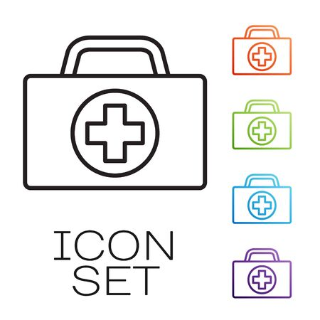 Black line First aid kit icon isolated on white background. Medical box with cross. Medical equipment for emergency. Healthcare concept. Set icons colorful. Vector Illustration Ilustracja