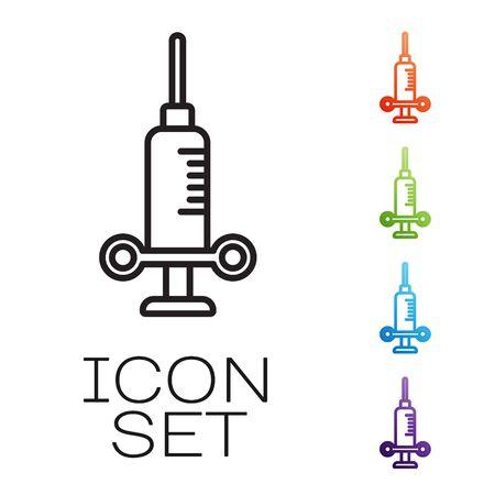 Black line Dental medical syringe with needle icon isolated on white background. Set icons colorful. Vector Illustration