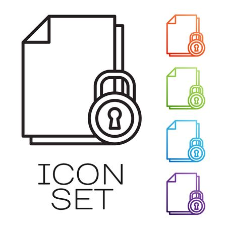 Black line Document and lock icon isolated on white background. File format and padlock. Security, safety, protection concept. Set icons colorful. Vector Illustration 일러스트