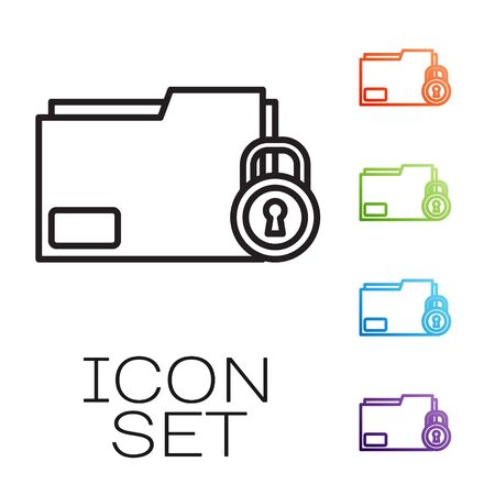 Black line Folder and lock icon isolated on white background. Closed folder and padlock. Security, safety, protection concept. Set icons colorful. Vector Illustration 일러스트