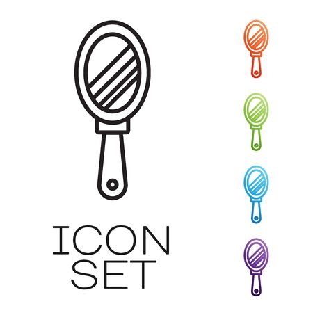 Black line Hand mirror icon isolated on white background. Set icons colorful. Vector Illustration