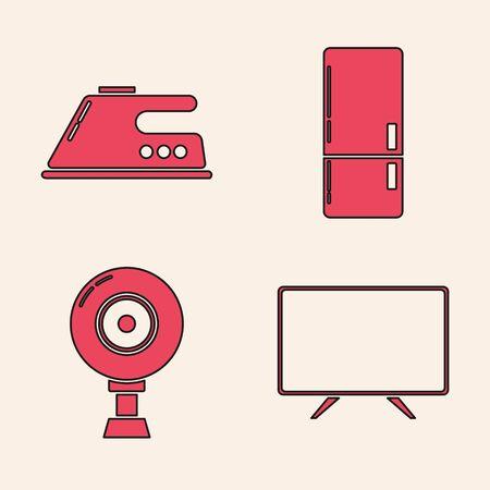 Set Smart Tv , Electric iron , Refrigerator  and Web camera  icon. Vector