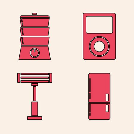 Set Refrigerator , Double boiler , Music player  and Electric heater  icon. Vector