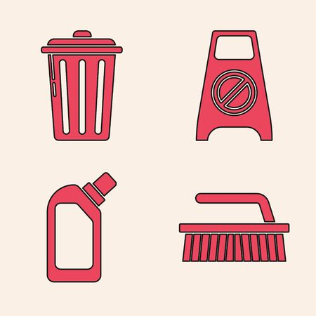 Set Brush for cleaning , Trash can , Wet floor and cleaning in progress  and Plastic bottles for liquid dishwashing liquid icon. Vector