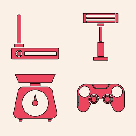 Set Gamepad , Router and wifi signal , Electric heater  and Scales  icon. Vector 일러스트