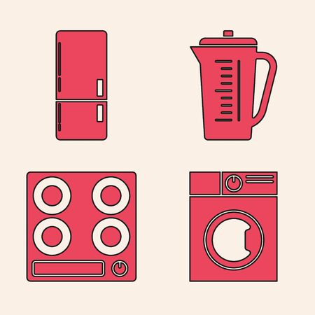 Set Washer , Refrigerator , Measuring cup and Gas stove  icon. Vector Stock Illustratie