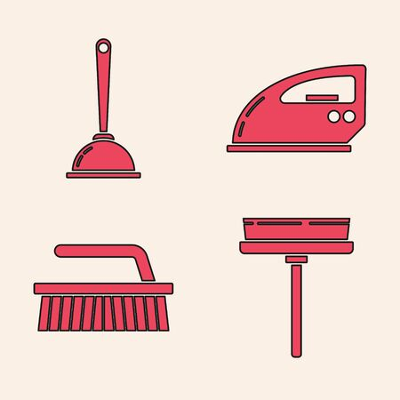Set Squeegee, scraper, wiper, Toilet plunger, Electric iron  and Brush for cleaning  icon. Vector
