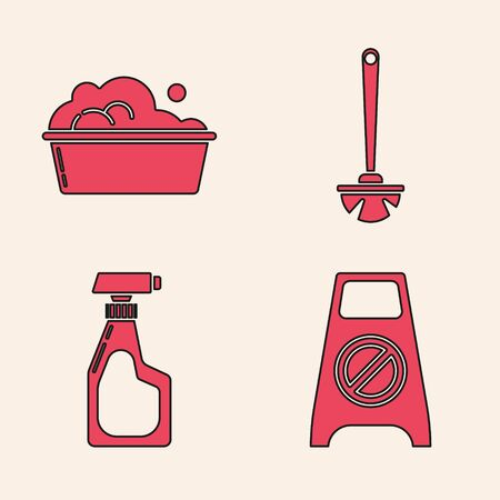 Set Wet floor and cleaning in progress , Plastic basin with soap suds , Toilet brush  and Cleaning spray bottle with detergent liquid  icon. Vector Ilustracja