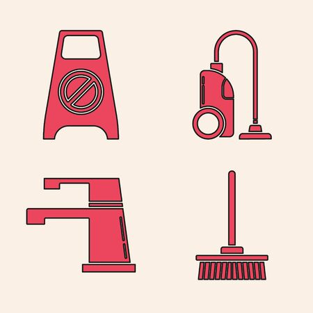 Set Mop , Wet floor and cleaning in progress , Vacuum cleaner  and Water tap  icon. Vector