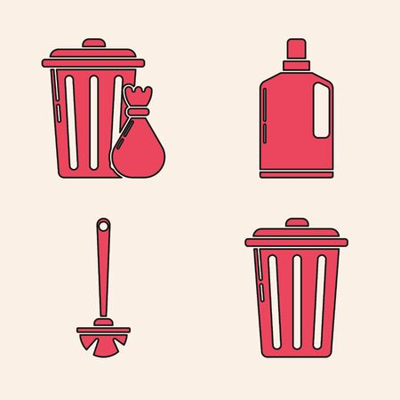 Set Trash can , Trash can and garbage bag , Plastic bottles for liquid dishwashing liquid and Toilet brush  icon. Vector