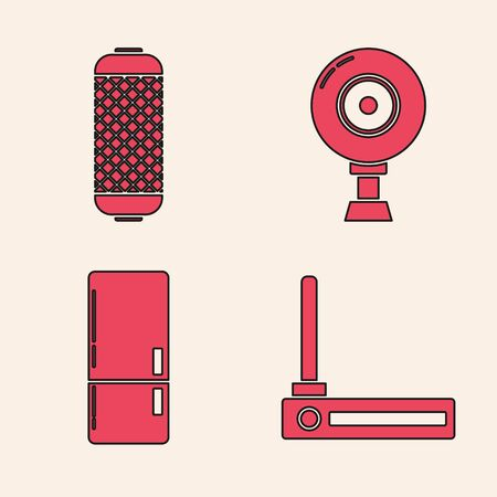 Set Router and wi-fi signal , Stereo speaker , Web camera  and Refrigerator  icon. Vector
