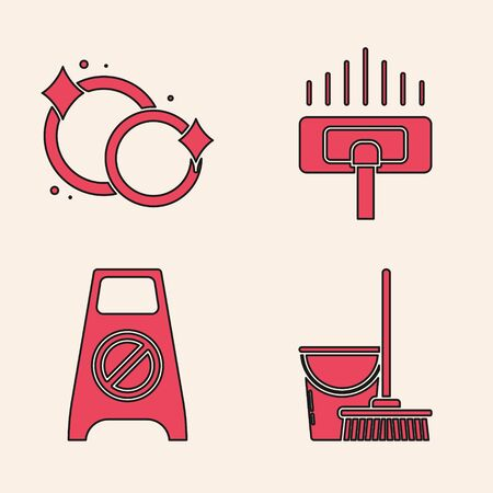 Set Mop and bucket , Washing dishes , Vacuum cleaner and Wet floor and cleaning in progress  icon. Vector