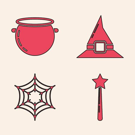 Set Magic wand , Halloween witch cauldron , Witch hat  and Spider web  icon. Vector