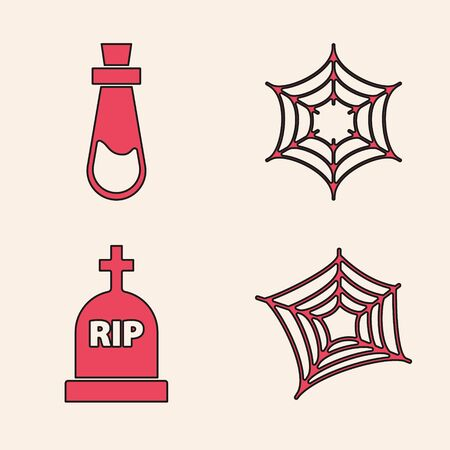 Set Spider web , Bottle with potion , Spider web  and Tombstone with RIP icon. Vector