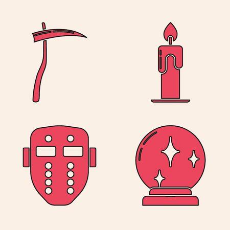 Set Magic ball , Scythe , Burning candle and Hockey mask icon. Vector