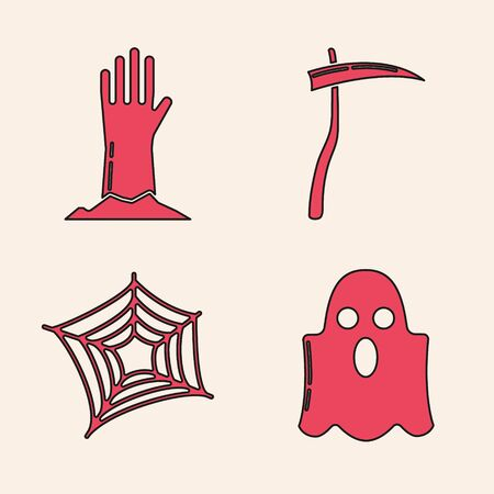 Set Ghost , Zombie hand , Scythe  and Spider web  icon. Vector