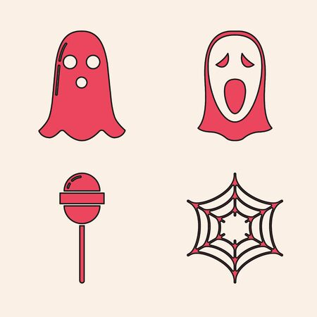 Set Spider web , Ghost , Funny and scary ghost mask for Halloween  and Lollipop  icon. Vector