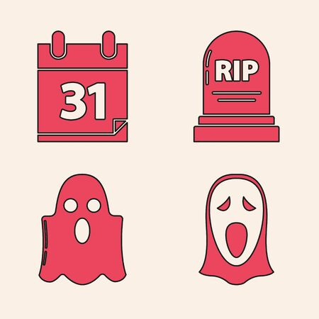 Set Funny and scary ghost mask for Halloween , Calendar with Halloween date 31 october, Tombstone with RIP and Ghost  icon. Vector