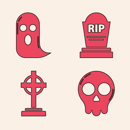 Set Skull , Ghost , Tombstone with RIP and Tombstone with cross  icon. Vector