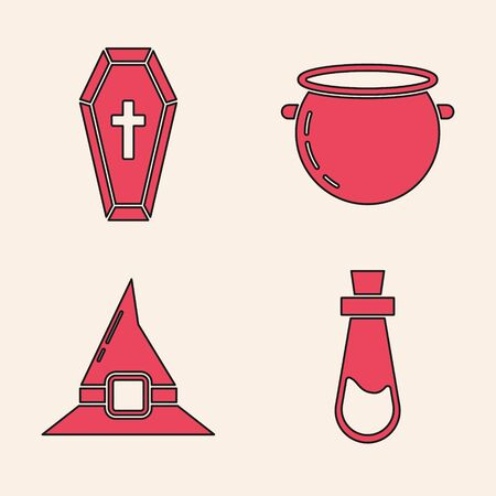 Set Bottle with potion , Coffin with christian cross , Halloween witch cauldron  and Witch hat  icon. Vector