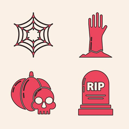 Set Tombstone with RIP, Spider web , Zombie hand  and Pumpkin and skull  icon. Vector  イラスト・ベクター素材