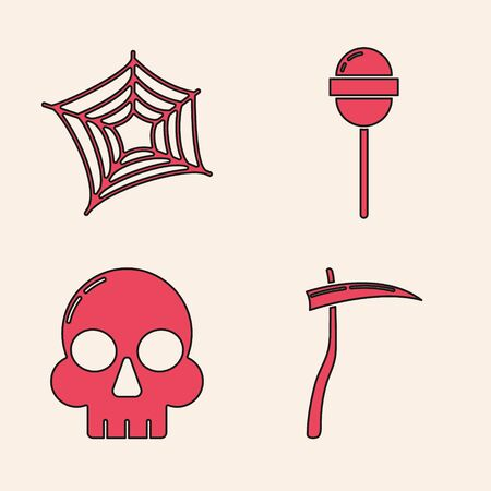 Set Scythe , Spider web , Lollipop  and Skull  icon. Vector