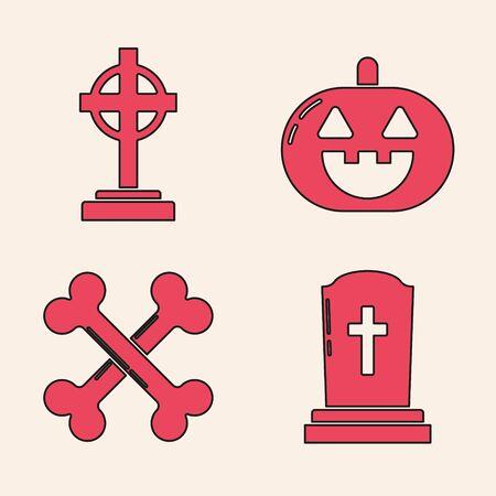 Set Tombstone with cross , Tombstone with cross , Pumpkin  and Crossed bones  icon. Vector