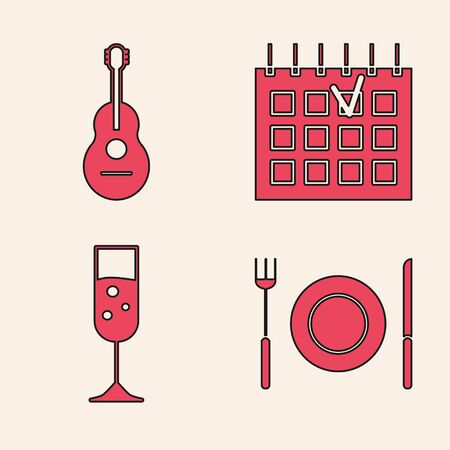 Set Plate, fork and knife , Guitar , Detailed calendar  and Glass of champagne  icon. Vector Ilustração