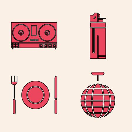 Set Disco ball , DJ remote for playing and mixing music , Lighter  and Plate, fork and knife  icon. Vector Ilustracja