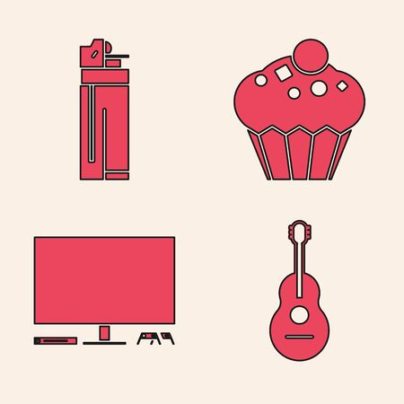 Set Guitar , Lighter , Muffin  and Video game console  icon. Vector